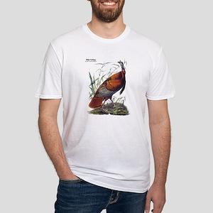 Audubon Wild Turkey Bird (Front) Fitted T-Shirt