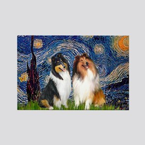 Starry Night / Collie pair Rectangle Magnet