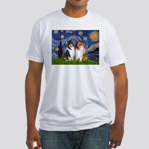 Starry Night / Collie pair Fitted T-Shirt