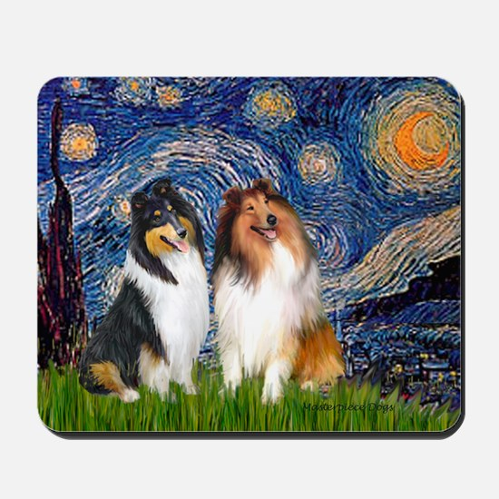 Starry Night / Collie pair Mousepad