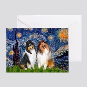 Starry Night / Collie pair Greeting Card