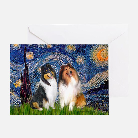 Starry Night / Collie pair Greeting Card