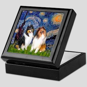 Starry Night / Collie pair Keepsake Box