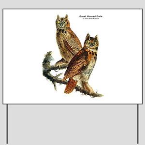 Audubon Great Horned Owls Yard Sign