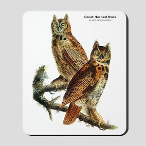 Audubon Great Horned Owls Mousepad