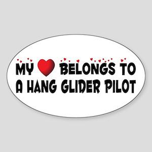 Belongs To A Hang Glider Pilot Oval Sticker