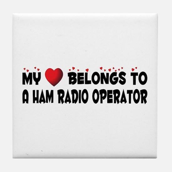 Belongs To A Ham Radio Operator Tile Coaster