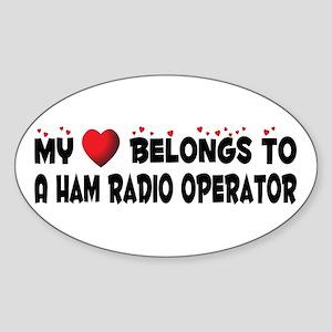 Belongs To A Ham Radio Operator Oval Sticker
