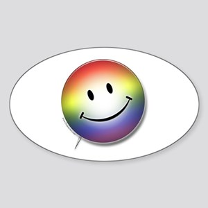 Rainbow Pride Smiley Face Oval Sticker