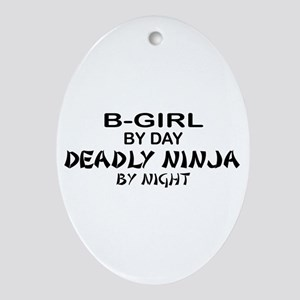 B-Girl Deadly Ninja by Night Oval Ornament