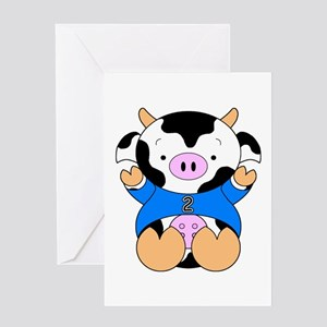 Two Year Old Cow Greeting Card