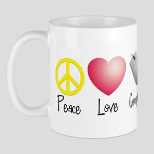 Peace, Love, and Computers Mug