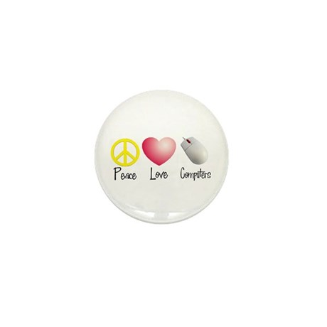 Peace, Love, and Computers Mini Button