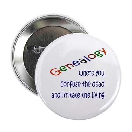 "Genealogy Confusion (blue) 2.25"" Button (10 pack)"