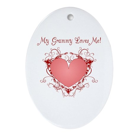 My Grammy Loves Me Heart Oval Ornament