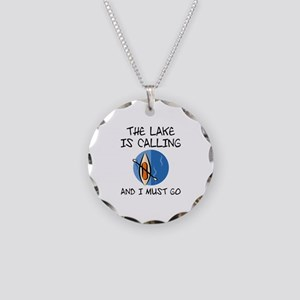 The Lake Is Calling Necklace Circle Charm