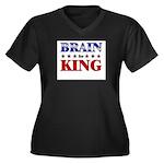 BRAIN for king Women's Plus Size V-Neck Dark T-Shi