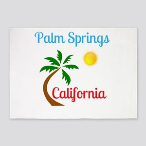 Palm Springs California Palm Tree a 5'x7'Area Rug