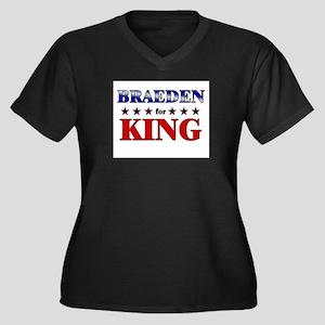 BRAEDEN for king Women's Plus Size V-Neck Dark T-S