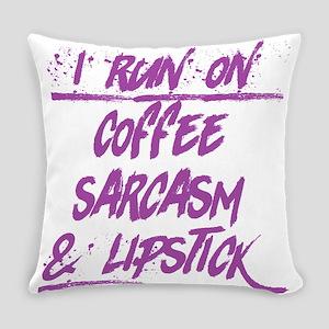 coffee sarcasm & lipstick Everyday Pillow