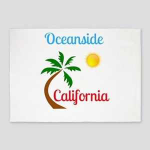 Oceanside California Palm Tree and 5'x7'Area Rug