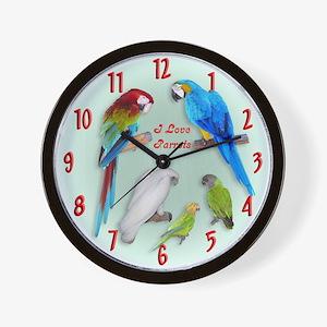 I love Parrots Wall Clock