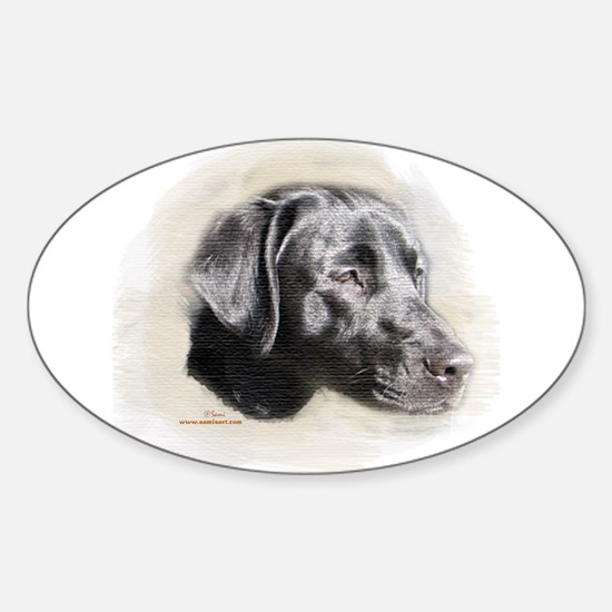 Duke The Black Lab Oval Decal