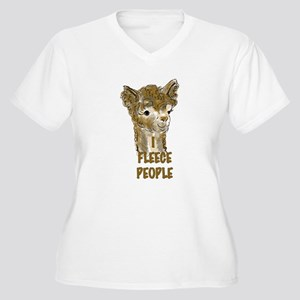 alpaca fleece Women's Plus Size V-Neck T-Shirt