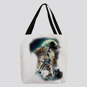 Wolf Wolves Moon Polyester Tote Bag