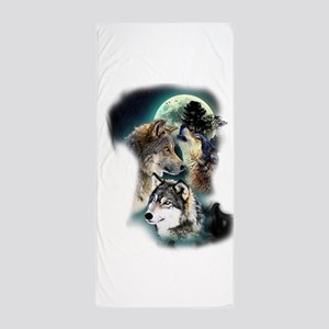 Wolf Wolves Moon Beach Towel