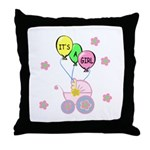 Its A Baby Girl Throw Pillow