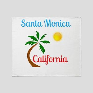 Santa Monica California Palm Tree an Throw Blanket