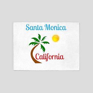 Santa Monica California Palm Tree a 5'x7'Area Rug
