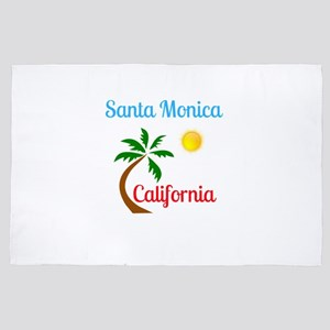 Santa Monica California Palm Tree and 4' x 6' Rug