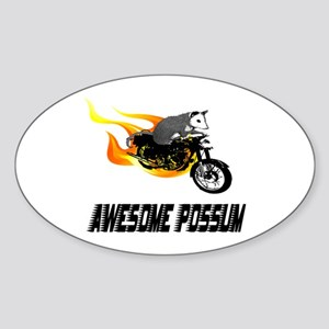 Flaming Awesome Possum Oval Sticker