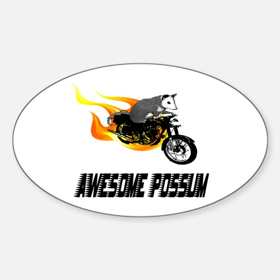 Flaming Awesome Possum Oval Decal