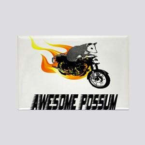 Flaming Awesome Possum Rectangle Magnet
