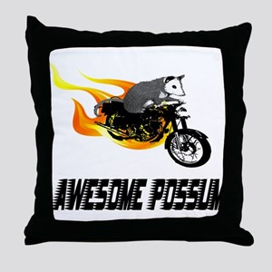 Flaming Awesome Possum Throw Pillow
