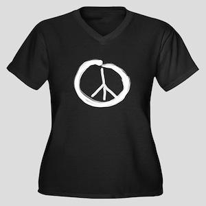 EnsoPeace Women's Plus Size V-Neck Dark T-Shirt