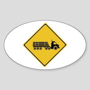 Logging Truck Warning, Australia Oval Sticker