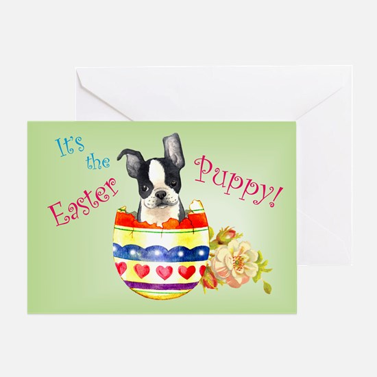 Easter Boston Terrier Greeting Card