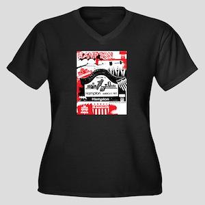 Hampton 2 Women's Plus Size V-Neck Dark T-Shirt