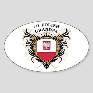 Number One Polish Grandpa Oval Sticker