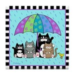 4 Cats & Duck with Umbrella Tile Coaster