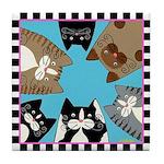 6 Shelter Cats Tile Coaster - Blue