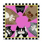 6 Shelter Cats Tile Coaster