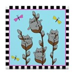 Kitty Cat Pussy Willows Tile Coaster