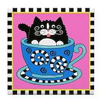 Tuxedo Cat in a Teacup Tile Coaster