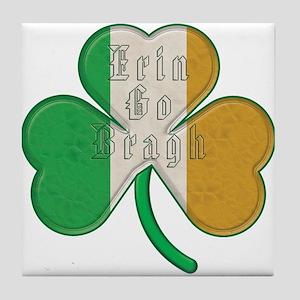 The Erin Go Braugh Irish Shamrock Tile Coaster