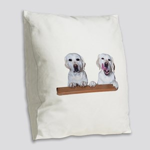 Labs on a Ledge Burlap Throw Pillow